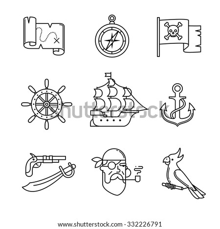 Pirate icons thin line art set. Black vector symbols isolated on white. - stock vector