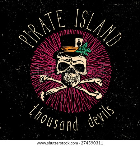 Pirate island t-shirt design with hand drawn illustration of skull in hat - stock vector