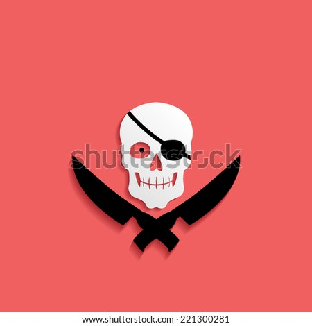 Pirate, jolly Roger icon isolated on a red background for your design - stock vector