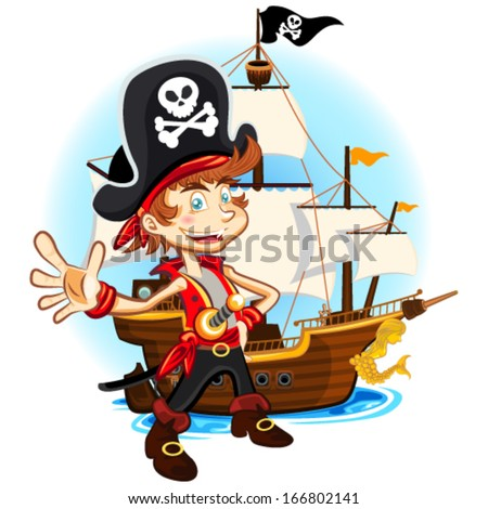 Pirate Kid and His Big War Ship - stock vector