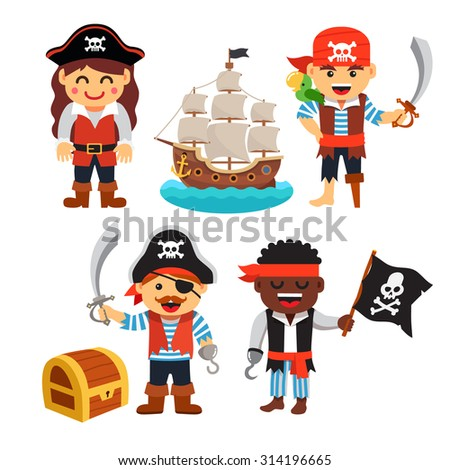Pirate kids rascals, girls and boys, in hats and bandanas with treasure chest, black flag and ship. Flat style vector cartoon illustration isolated on white background. - stock vector