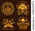Pirate labels set - vector design for badges, logos and t-shirt prints.  - stock photo