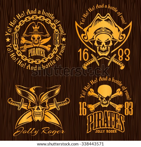 Pirate labels set - vector design for badges, logos and t-shirt prints.  - stock vector
