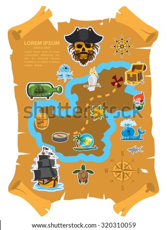 Pirate map, old parchment with pirate map - stock vector