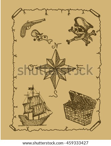 Pirate Map Old Poster Hand Drawn Sketch Of Ship Jolly Roger Pistol Gun