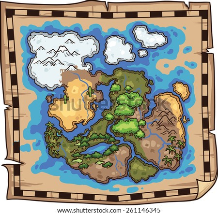 Pirate map. Vector clip art illustration. All in a single layer. - stock vector