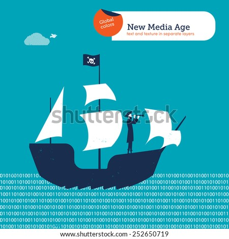 Pirate on a pirate's ship on a digital sea. Vector illustration Eps10 file. Global colors. Text and Texture in separate layers. - stock vector