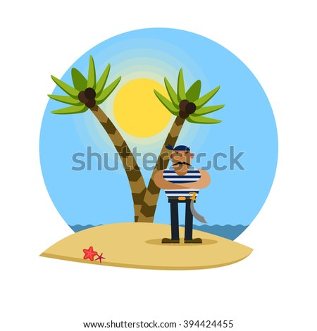 Pirate on a tropical beach with palm trees, vector illustration - stock vector