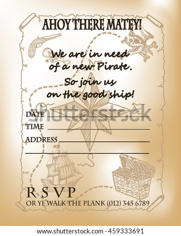 Pirate party invitation card design pirate stock vector 459333691 pirate party invitation card design pirate map for birthday party invitation card template pirate ship stopboris