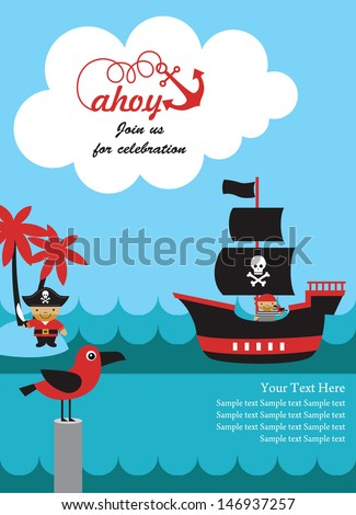 Pirate party invitation card design vector stock vector 146937257 pirate party invitation card design vector illustration stopboris