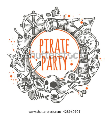 Pirate party. Round circle composition with pirate elements. Hand drawn vector illustration. Anchor, spyglass, lighthouse, roger, treasure, ahoy, bone, money, rum, bottle, palm, cannonball and other. - stock vector