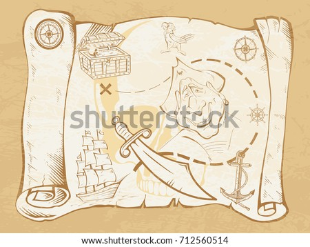 Pirates Map In Old Style Stylized Pirate Treasure On Vintage Paper Hand Drawn