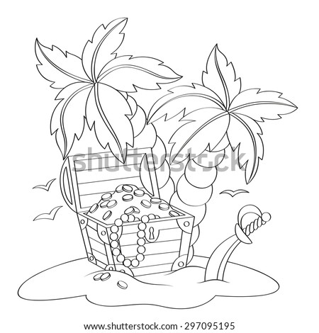 Pirate's treasure chest on deserted beach with palm trees. Black and white vector illustration for coloring book - stock vector