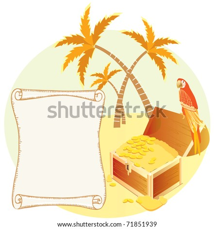 Pirate's treasure with parrot and palms. Vector cartoons