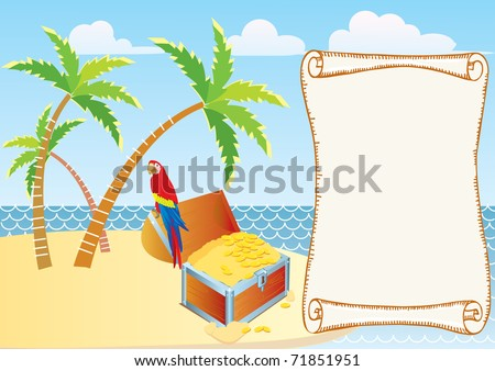 Pirate's treasure with parrot and palms. Vector cartoons background - stock vector
