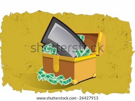 Pirate's tv treasure - stock vector