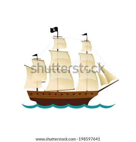 Pirate Sailing Ship. Vector design for app game user interface - stock vector