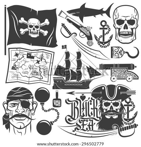 Pirate set for logos. Blackbeard. Tattoo with skull. Corsair captain with beard. Black sea lettering.
