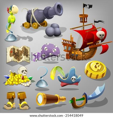 Pirate set. Vector illustration. - stock vector