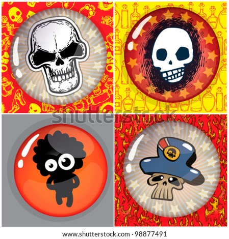 pirate set with patterns and badges - stock vector