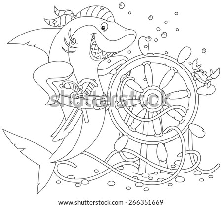 Pirate shark with a pistol, a saber and a steering wheel of a sunken ship - stock vector