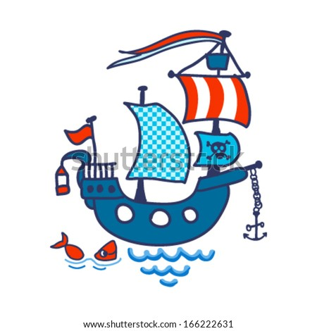 Pirate ship and a little fish. Vector illustration - stock vector