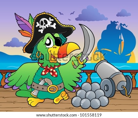Pirate ship deck theme 5 - vector illustration. - stock vector