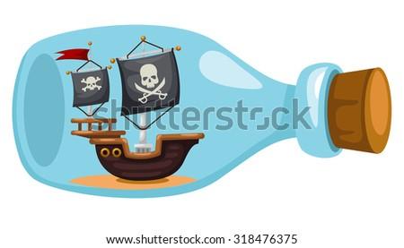 Pirate ship in bottle,vector illustration - stock vector