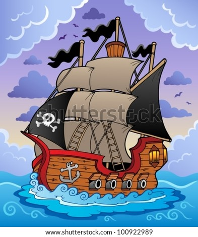 Pirate ship in stormy sea - vector illustration. - stock vector