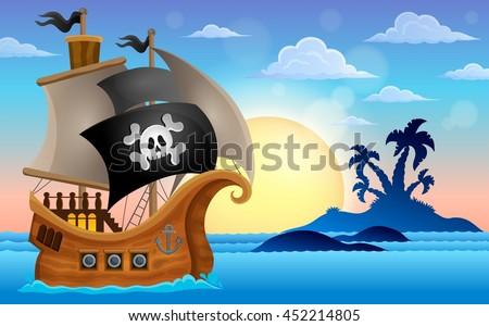 Pirate ship near small island 4 - eps10 vector illustration. - stock vector