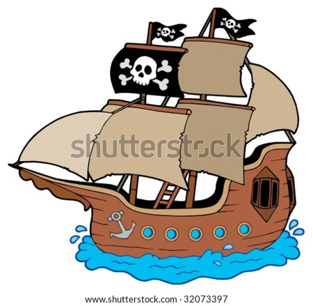 Pirate ship on white background - vector illustration. - stock vector
