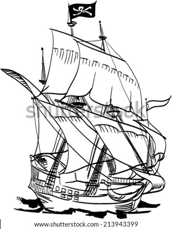 Pirate ship pen drawing - stock vector