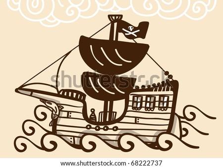Pirate ship sailing - stock vector
