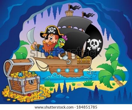 Pirate ship theme image 3 - eps10 vector illustration. - stock vector