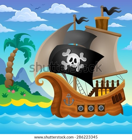 Pirate ship topic image 3 - eps10 vector illustration. - stock vector