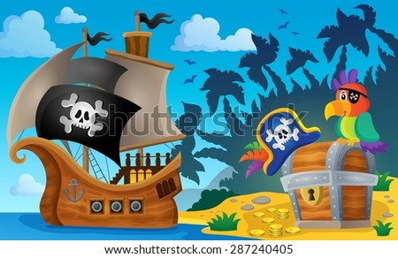 Pirate ship topic image 6 - eps10 vector illustration. - stock vector
