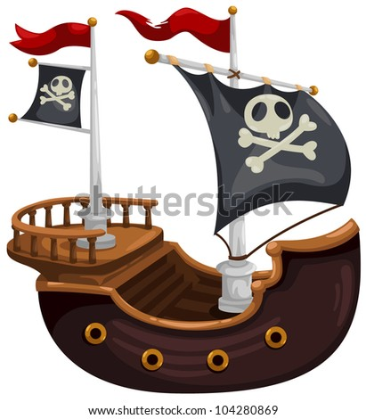 Pirate ship vector illustration - stock vector