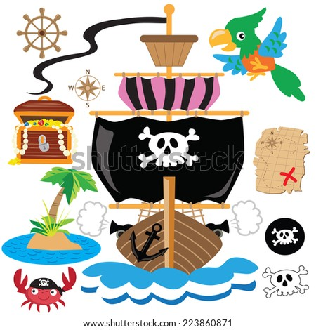 Pirate ship vector illustration