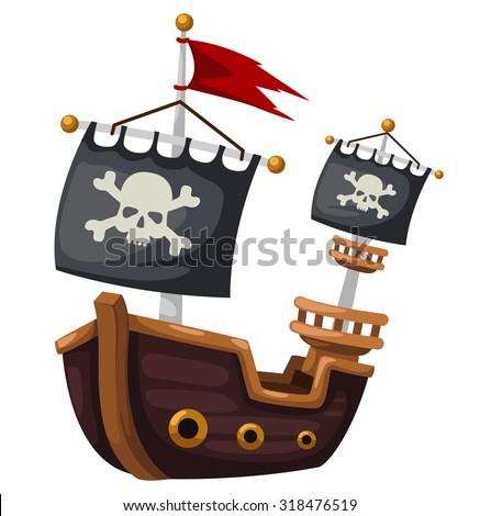 Pirate ship vector illustration - stock vector