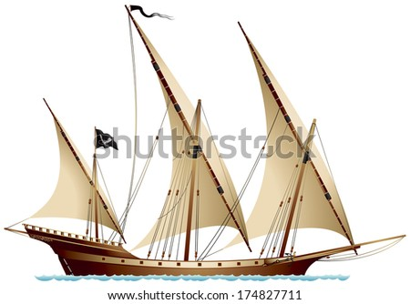 Pirate Ship Xebec, sailing ship under the black flag, Mediterranean vessel with lateen sails used by Algerian Berber corsairs and Barbary pirates. Popular warship of the Spanish Navy and French Navy  - stock vector