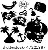 Pirate silhouettes collection - vector illustration. - stock vector