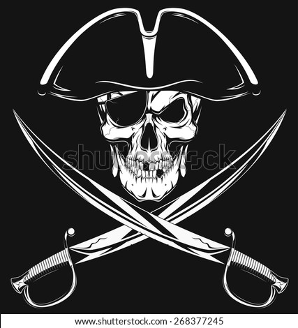 Pirate skull - stock vector