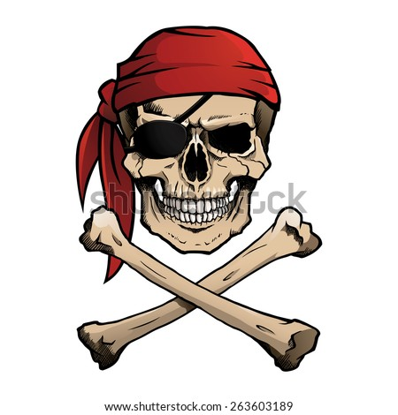 Pirate skull and crossbones, also known as Jolly Roger, wearing a bandana.