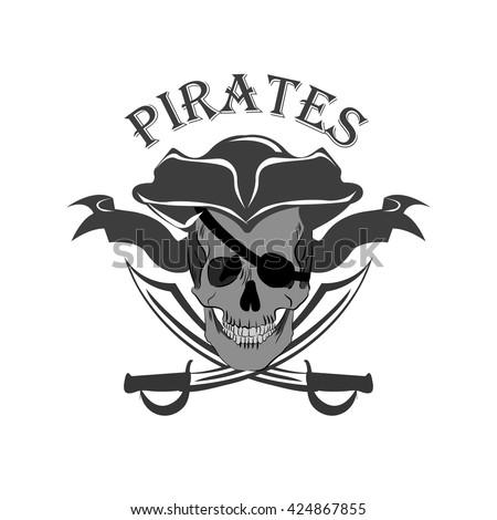 Pirate Skull and crossed sabers badge - stock vector