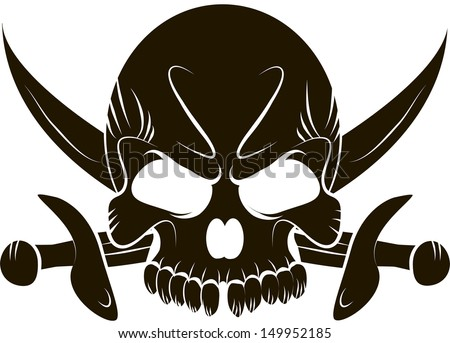 Pirate Skull and Swords - stock vector