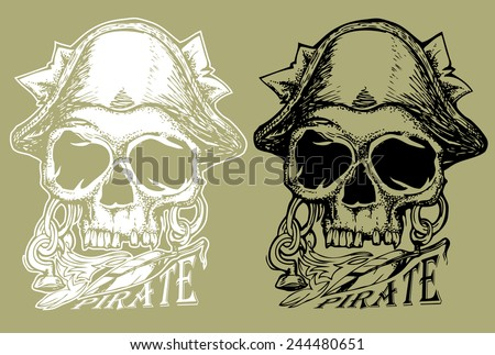 pirate skull hand draw with invert color isolated - stock vector
