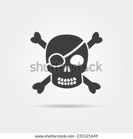 Pirate Skull Icon - stock vector
