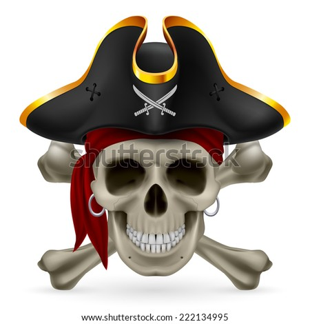 Pirate skull in red bandana and cocked hat with crossed bones - stock vector