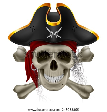 Pirate skull in red bandana and cocked hat with crossed bones and hair tuft - stock vector