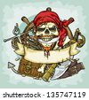 Pirate Skull logo design, vector illustrations with space for text, hand drawn collection - stock vector